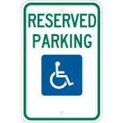 "Brady® 103748 Handicap Reserved Parking Sign, ADA Compliant, Aluminum, 12""W x 18""H"