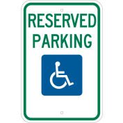 "Brady® 103748 Handicap Reserved Parking Sign, ADA Compliant, Aluminum, 12""W x 18""H"