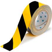 "Brady® 104317 ToughStripe Floor Marking Tape, Polyester, 2""W X 100'L, Black/Yellow"