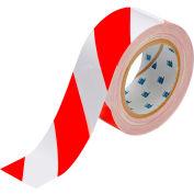 "Brady® 104318 ToughStripe Floor Marking Tape, 2"" W X 100'L, Red/White"