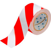 "Brady® 104348 ToughStripe Floor Marking Tape, Polyester, 3""W X 100'L, Red/White"