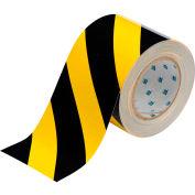 "Brady® 104377 ToughStripe Floor Marking Tape, Polyester, 4""W X 100'L, Black/Yellow"