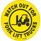 "Brady® 104501 Floor Watch Out For Fork Lift Trucks Sign, Yellow/Black, Polyester, 17""Dia"