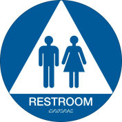 """Brady® Architectural Sign, Restroom Symbol & Braille, 12""""Dia., White on Blue, 106181"""