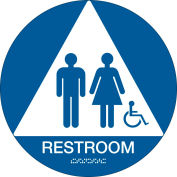 "Brady® Architectural Sign, Restroom ADA Symbol & Braille, 12"" Dia., White On Blue, 106184"
