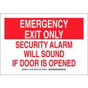 "Brady® 127165 Emergency Exit Only Security Alarm Will Sound If Door Is Opened Sign, 10""W x 7""H"