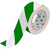 "Brady® 132436 ToughStripe Floor Marking Tape, Polyester, 2""W X 100'L, Green/White"