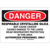 "Brady® 149439 DANGER Respirable Crystalline Silica Sign, 10""H x 14""W, Polyester"