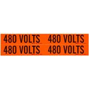"Brady® 44215 Voltage Label, 480 Volts, 1-1/8"" X 4-1/8"", Orange/Black, 4 Labels/Card"