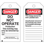 Brady® 50198 Lockout Tag- Danger Do Not Operate, 2 Sided, Polyester, 25/Pack