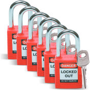 Brady® 51339 Safety Padlock With Label, Keyed Differently, Red, Plastic Covered Steel, 6/Pack