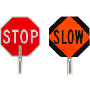 "Brady® 57754 Traffic Control Paddle, 2 Sided, Stop/Slow Sign, Aluminum, 18""W x 18""H"
