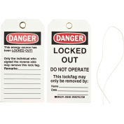 Brady® 65455 Lockout Tag- Danger Locked Out Do Not Operate, 2 Sided, Cardstock, 25/Pack