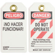 Brady® 65671 Danger Do Not Operate Tag, Bilingual Engligh/Spanish, HD Polyester, 25/Pack