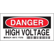 "Brady® 84875 Danger High Volatge Label, Self-Adhesive, Polyester, 5""W x 3.5""H"