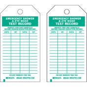 """Brady® 86446 Emergency Shower & Eye Wash Test Record Tag, 25/Pkg, HD Polyester, 3""""W x 5-3/4""""H"""