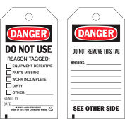 """Brady® 86533 Danger Do Not Use Tag, 2 Sided, 25/Pkg, Polyester, 3""""W x 5-3/4""""H"""