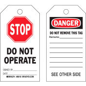 """Brady® 86537 Stop Do Not Operate tag, 2 sided, 10/Pkg, Polyester, 3""""W x 5-3/4""""H"""