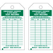 "Brady® 86560 Emergency Shower & Eye Wash Test Record Tag, Polyester, 3""W x 5-3-3/4""H, 10/Pkg"