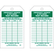 """Brady® 86615 Emergency Shower & Eye Wash Test Record Tag, 2 Sided, 10/Pkg, Polyester, 4""""W x 7""""H"""