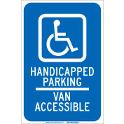 "Brady® 90018 Handicapped Parking Van Accessible Sign, Blue/White, Aluminum, 12""W x 18""H"