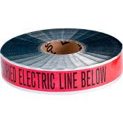 """Brady® 91601 Underground Tape, Caution Buried Electric Line, 2""""W x 1000'L, Black/Red"""