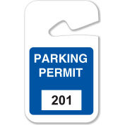 "Brady® 96263 Rearview Mirror Hanging Tags, #201 - 300, Parking Permits, Blue, 2-3/4""W x 4-3/4""H"