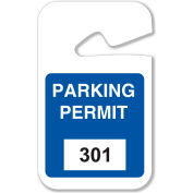 """Brady® 96264 Rearview Mirror Hanging Tags, #301 - 400, Parking Permits, Blue, 2-3/4""""W x 4-3/4""""H"""