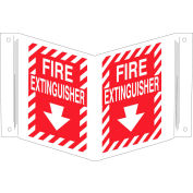 "Brady® 96908 Fire Extinguisher ""V"" Sign, 2 Sided, Polyethylene, 18""W x 12""H"
