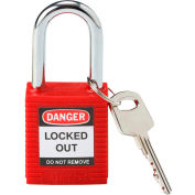 Brady® 99552 Safety Padlock With Label, Plastic Covered Steel, Red