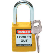 "Brady® 99570 Safety Lockout Padlock With Label, 1-1/2"", 1 Key, Plastic Covered Steel, Yellow"