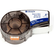 "Brady BMP21 Series Nylon Cloth Wire & Cable Labels, 1-2""W X 16'L, Black-White, M21-500-499"