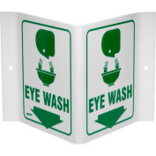 "Brady® V1EW03A Eye Wash ""V"" Sign, 2 Sided, Acrylic, 9""W x 6""H"