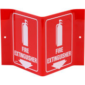 "Brady® V1FE15A Fire Extinguisher ""V"" Sign, 2 Sided, Acrylic, 8""W x 6""H"