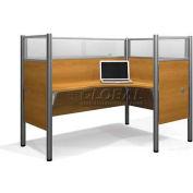 "Pro-Biz Single Right L-Desk Workstation w/ End Panels in Capp. Cherry 55-1/2""H"