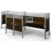 Pro-Biz Double Side-by-Side L-Desk Workstation w/ End Panels - Chocolate