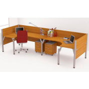 "Pro-Biz Double Back to Back L-Desk Workstation in Cappuccino Cherry 55-1/2""H"