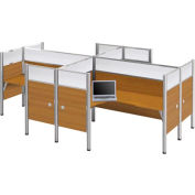 "Pro-Biz Four L-shaped Workstation w/ End Panels in Chocolate 55-1/2""H"