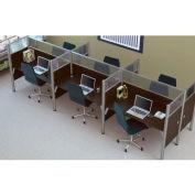 "Pro-Biz Six Straight Desk Workstation in Chocolate 55-1/2""H"