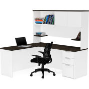 Bestar® L-Desk with Hutch - White and Deep Gray - Pro-Concept Plus Series