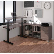 Bestar® L-Desk and Electric Height Adjustable Table - Bark Gray - Pro-Linea Series