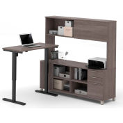Bestar® L-Desk with Hutch and Electric Height Adjustable Table - Bark Gray - Pro-Linea Series