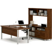 Bestar® Pro-Linea U-Desk with Hutch Oak Barrel