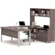 "Bestar® U Desk with Hutch - 71"" - Bark Grey - Pro-Linea Series"