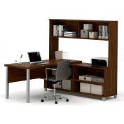 Bestar® Pro-Linea L-Desk with Hutch Oak Barrel