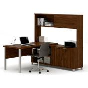 Bestar® Pro-Linea L-Desk with Sliding-Door Hutch Oak Barrel