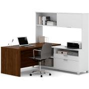 Bestar® Pro-Linea L-Desk with Hutch White & Oak Barrel