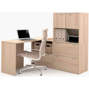Bestar i3 Series L-Shaped Desk with Hutch in Northern Maple with 3 File Drawers