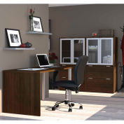 Bestar i3 Series Executive Kit in Medium Oak with 4 Drawer Lateral File with Hutch