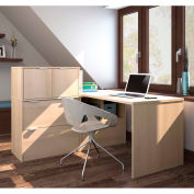 Bestar i3 Series L-Shaped Desk in Northern Maple with 3 File Drawers